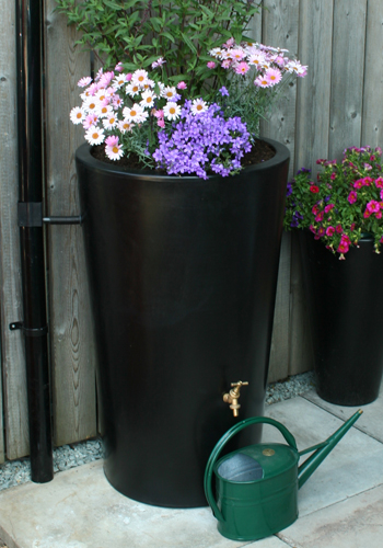 City Water Garden Water Butt Planter In Black
